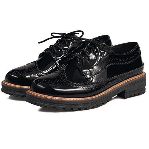 en Brogue Derbies Black Lacets à RAZAMAZA Femmes Cuir Chaussures aBxqgX