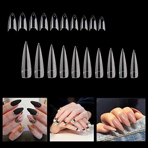 1000PCS False French Nail Tips Manicure Stiletto Shaped Nails, 10 Sizes, Full Cover Acrylic Fakes Nails Artificial Nail Art Clear Nail Tips False Finger Nail Tips for Nail Salon DIY Nail Design]()
