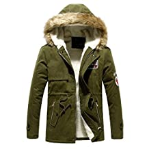 Hee Grand Men's Faux Fur Long Winter Trench Jacket Coat Hooded Parka