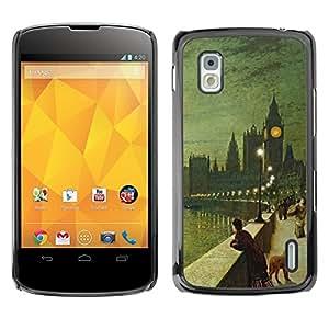 TopCaseStore / la caja del caucho duro de la cubierta de protección de la piel - Painting Big Ben Old City - LG Google Nexus 4 E960