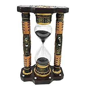 Ebros Gift Endless Time Shifting Warp Column Pillars Steampunk Gearwork Sandtimer Black Sand Figurine Sculpture Sand Timers Victorian Industrial Sci Fi Decor