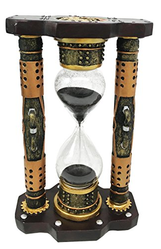 Ebros Gift Endless Time Shifting Warp Column Pillars Steampunk Gearwork Sandtimer Black Sand Figurine Sculpture Sand Timers Victorian Industrial Sci Fi Decor 3