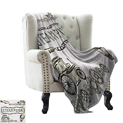 BelleAckerman Children's Blanket Sketchy,Balloon Antique Cars Design with Quote in Middle Saying Steampunk,Ivory Dark Olive Green Super Soft Faux Fur Plush Decorative Blanket -