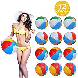 Geefia Inflatable Beach Balls, 12 Pcs Inflatable 6-Color Traditional Beach Balls Pool Party Toys Birthday Favors Adults Kids Summer Party Swimming Beach Holiday