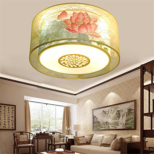 Modern LED Pendant Flush Mount Ceiling Fixtures Light Cloth classical new Chinese style ceiling lamp hand painted lighting round warm, 500mm