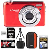 Polaroid iEX29 18MP 10x Digital Camera (Red) with 16GB Card + Case + Accessory Kit