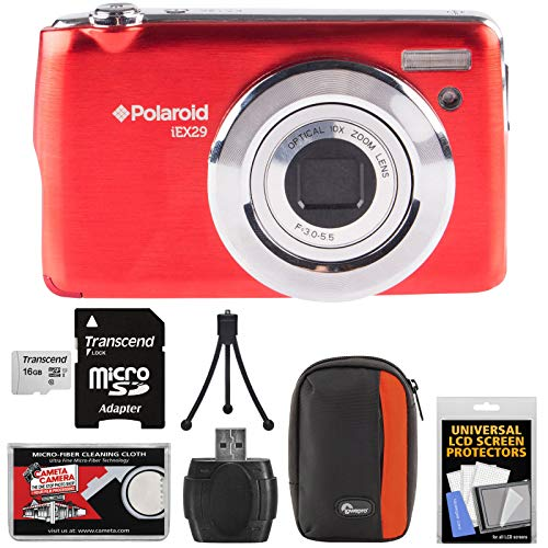 Polaroid iEX29 18MP 10x Digital Camera (Red) with 16GB Card + Case + Accessory Kit by Polaroid