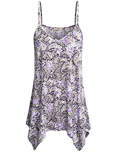 (Miusey Strappy Cami Tank Top Women Fashion 2018 Sleeveless Camisoles Vneck Loose Cute Flattering Comfortable Floral Print Vintage Daily Wear for Summer Purple S)