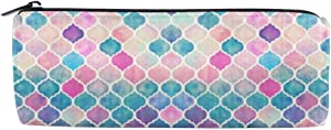 Pencil Case Rainbow Pastel Watercolor Moroccan Pattern Big Capacity Canvas Pencil Bag Durable Students Stationery with Zipper for School/Office