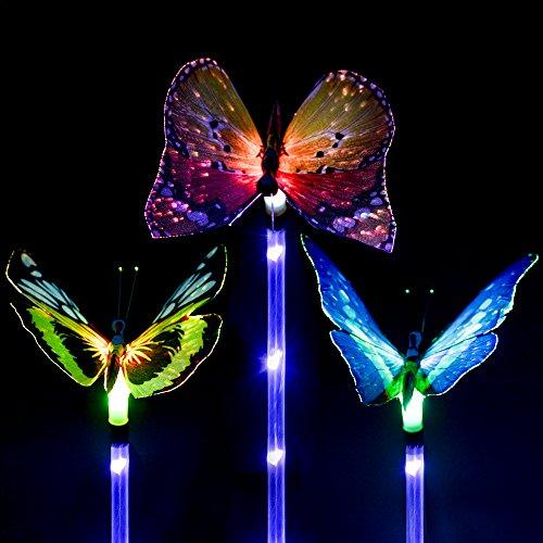 BONAOK Outdoor Garden Solar Light,3 Pack Solar Multi-color Stake Light Changing LED Garden Lights with a Purple LED Light Stake,Fiber Optic Butterfly Decorative Lights