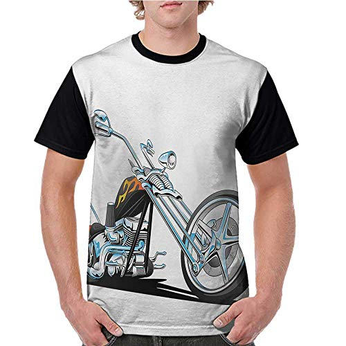crabee Raglan Sleeve Baseball Tshirt,Manly,American Chopper Motorcycle Competitions Tough Wild Cool Sport,Charcoal Grey White Pale Blue S-XXL Mens Short Sleeve Blouses