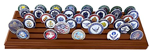 DECOMIL Poker Chips& Military Collectible Challenge Coin Holder Solid Walnut (Large, 6 Rows) by DECOMIL