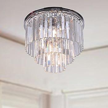 Justina 5 light crystal glass prism 3 tier flush mount chrome justina 5 light crystal glass prism 3 tier flush mount chrome chandelier aloadofball Choice Image
