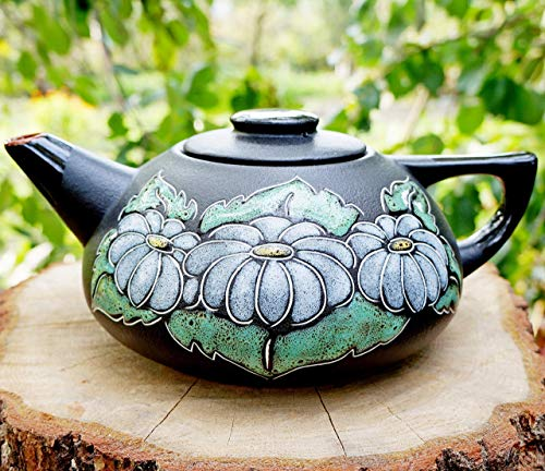 Handmade flower ceramic teapot, 33.8 oz, Hand painted Chamomile kitchen gifts for mom grandma women