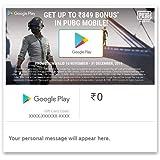 Get Upto Rs.849 Bonus In PUBG MOBILE||Google Play Gift Code - Digital Voucher