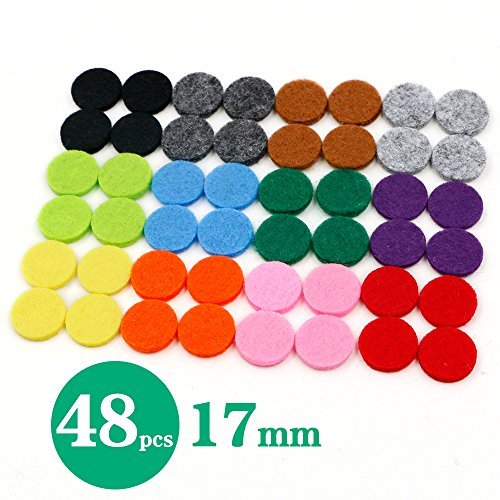 Price comparison product image RoyAroma 17mm Replacement Felt Pads(48 pieces) For 25mm Essential Oil Diffuser Locket Pendant Necklace with 12 colors