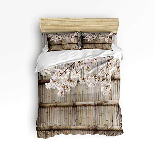 CHASOEA Duvet Cover Set Twin Size, Bamboo Hedgerows and Cherry Blossoms Artprint Floral Duvet Cover and Pillow Shams Bed Set