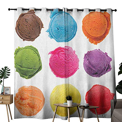 duommhome Ice Cream Curtain for Kids Ice Cream Toppings with Colorful Various Flavor Yummy Sweet Summer Season Image Set of Two Panels W120 x L84 Multicolor]()