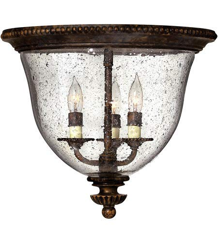 Flush Mounts 3 Light Fixtures with Forum Bronze Finish Hand-Painted Metalwork Material Candelabra 15