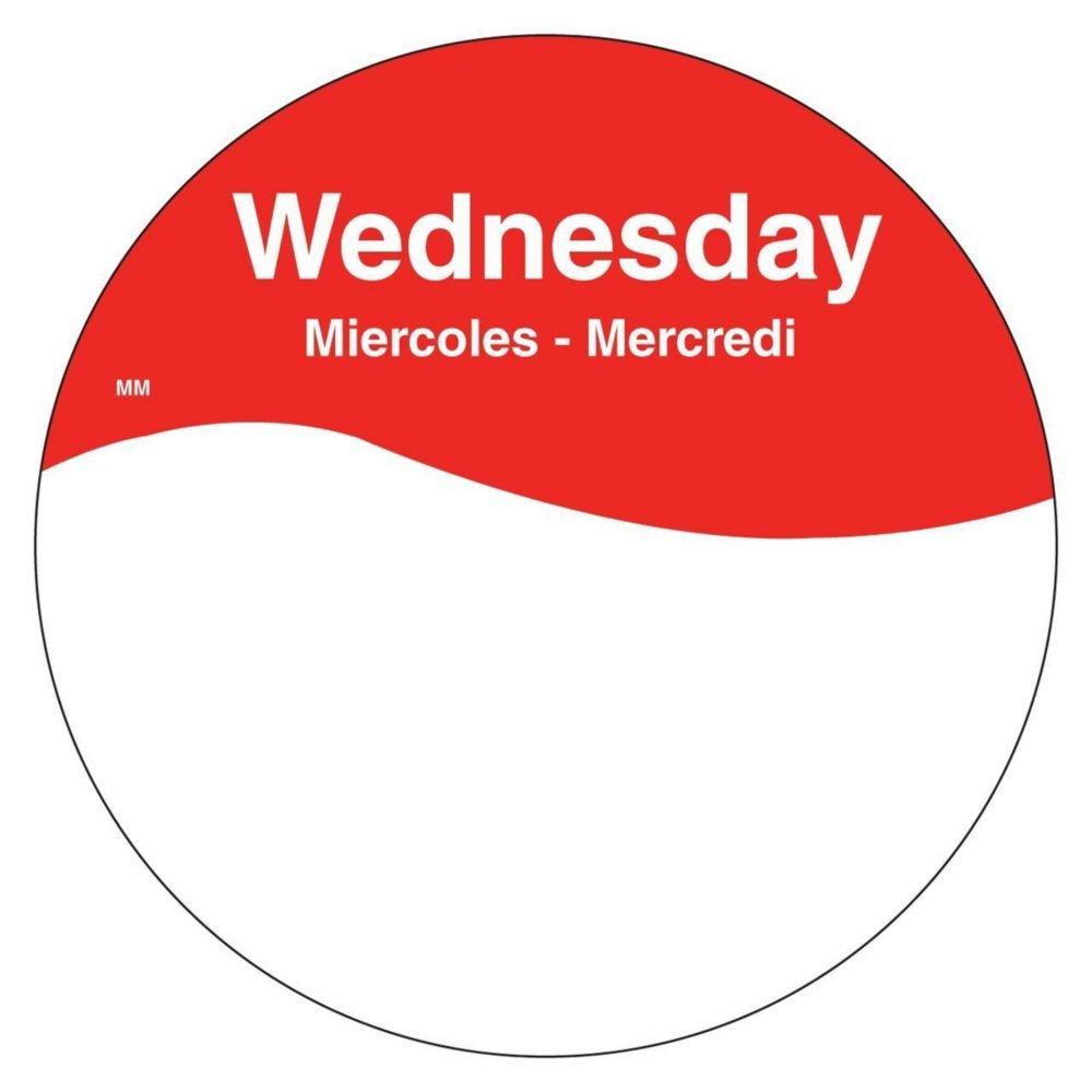 DayMark 1101083 MoveMark Trilingual 3'' Wednesday Day Circle - 500 / RL