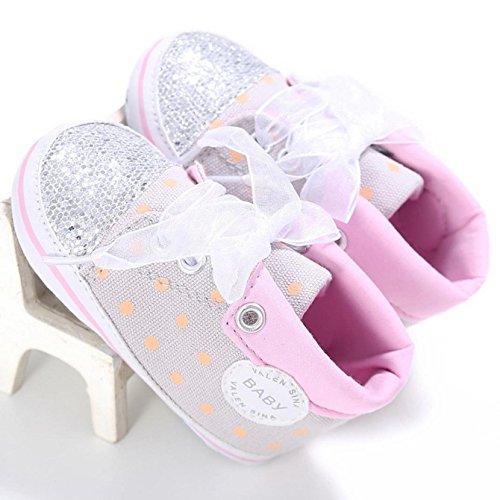 Zapatillas de deporte, Internet Zapatos de tacón suave antideslizante de la zapatilla de deporte del alto corte de los cequis del bebé Gris