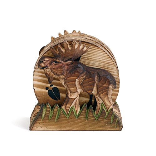 Moose Silhouette Track Natural Brown 5 x 4 Solid Wood Coasters Set of 4