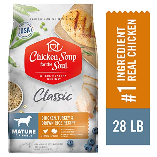 Chicken Soup for The Soul Mature Dog Food, Chicken, Turkey & Brown Rice Recipe, 28 lb. Bag | Soy Free, Corn Free, Wheat Free | Dry Dog Food Made with Real Ingredients