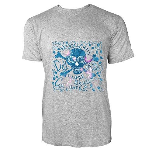 SINUS ART® Handgemalter Mexikanischer Totenkopf Herren T-Shirts in hellgrau Fun Shirt mit tollen Aufdruck