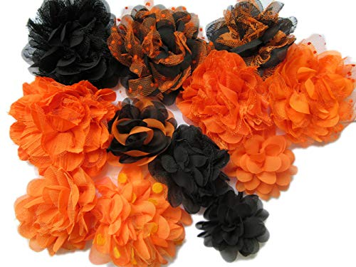 Chiffon Mesh Fabric Flowers - Orange and Black - YYCRAFT Halloween Chiffon Flowers for Headbands,Decorations or Crafts(Pack of 10,2.5