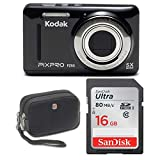 Kodak FZ53 Digital Camera (Black) with Sandisk Ultra 16GB Memory Card & Camera Case Bundle