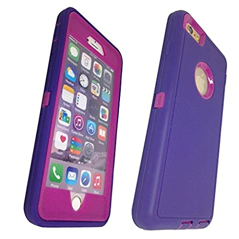 iphone 6 plus case, Lucky On iPhone 6 / 6s PLUS 5.5in Durable Dual Layer Protective Hybrid Armor Heavy Duty Shockproof Shell Case - built-in Transparent Screen Protector - Purple & Purple