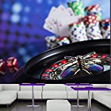 azutura Casino Wall Mural Poker Cards Roulette Photo Wallpaper Games Office Home Decor available in 8 Sizes XX-Large Digital