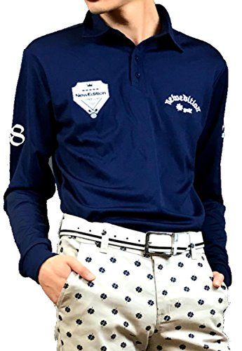 ゴルフシャツ メンズ 長袖 半袖 シャツ ゴルフウエア ポロシャツ ストレッチ 秋冬 ワッペン 速乾 吸収 シャツ (NEG-311),(NEG-312)