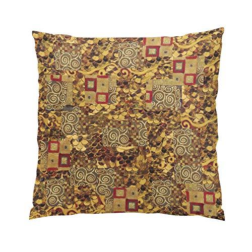 Suike Art Nouveau Klimt Gold Brown Red Romantic Hidden Zipper Home Sofa Decorative Throw Pillow Cover Cushion Case Square 18x18 Inch Two Sides Design Printed Pillowcase (Back Zip Nouveau)