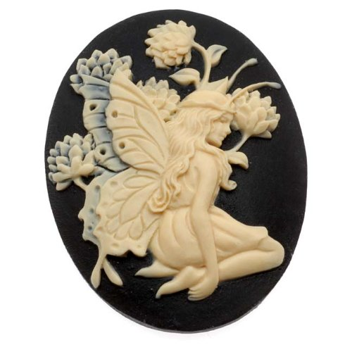 Oval Cameo - Black With Ivory Fairy And Flowers 40x30mm (1 Piece) (Lucite Cameo Bead)