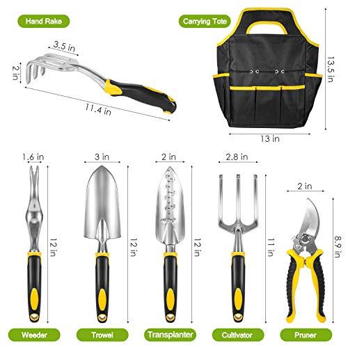AUTUY Garden Tool Set Garden Tools for Gardening 31 Piece Aluminum Tool Kit with Storage PocketGarden Tool Set for Men Women