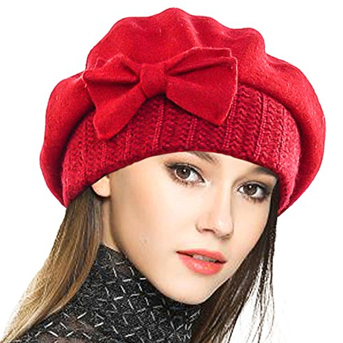 (VECRY Lady French Beret 100% Wool Beret Floral Dress Beanie Winter Hat (Bow-Red))