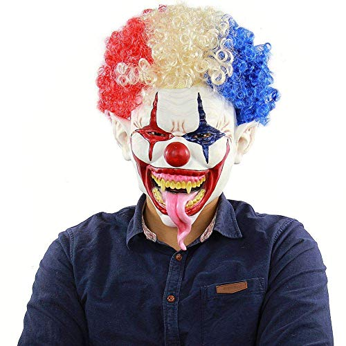 CLEAVE WAVES Novelty Latex Horror Masks/Halloween Costumn Party Scary Clown Mask Face Adult/Frightful Head Mask Hair Halloween -