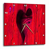 3dRose LLC Lovely Red Wooden Heart 10 by 10-Inch Wall Clock For Sale