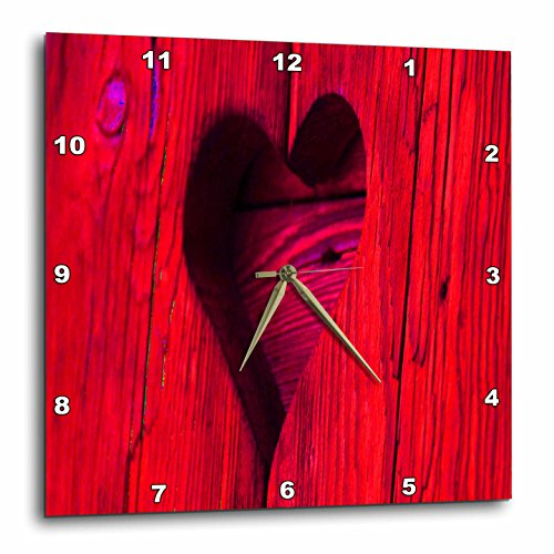 3dRose LLC Lovely Red Wooden Heart 10 by 10-Inch Wall Clock