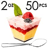 Mini Dessert Cups, Appetizer Bowls & Spoons with Recipe e-Book [Clear Plastic, 2 oz, Square Short, 50 Count] Small Catering Supplies, Disposable Parfait Tasting Shooters Tumbler Glasses