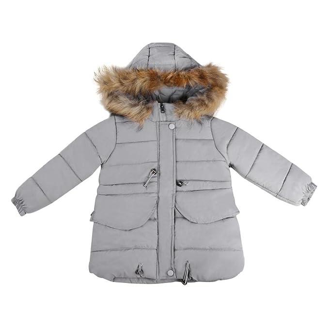 Bebé chica caliente larga abrigo con pelo en capucha , Yannerr niña niño invierno primavera acolchado