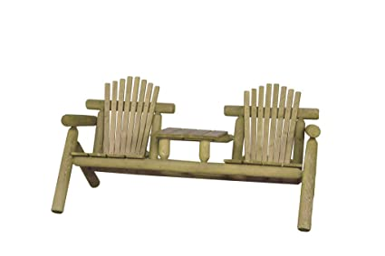 Rustic White Cedar Log Adirondack Settee With Center Table  Amish Made In  The USA