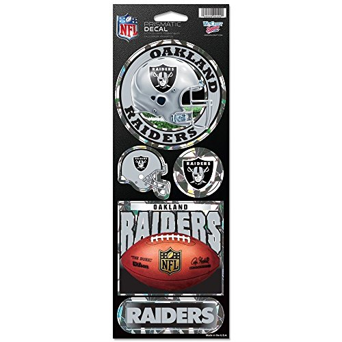 (WinCraft NFL Oakland Raiders Prismatic Stickers, Team Color, One Size)