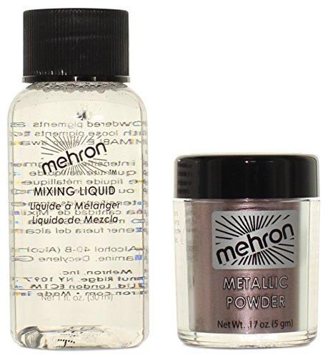Mehron Makeup Metallic Powder .17 oz with Mixing Liquid 1fl oz - - Yellow Warm Skin Cool Tone Or