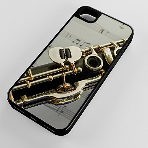 iPhone Case Fits Apple iPhone 5c Hybrid Tough Case Clarinet Single Reed Mouthpiece Flared Bell Black Plastic Black Rubber