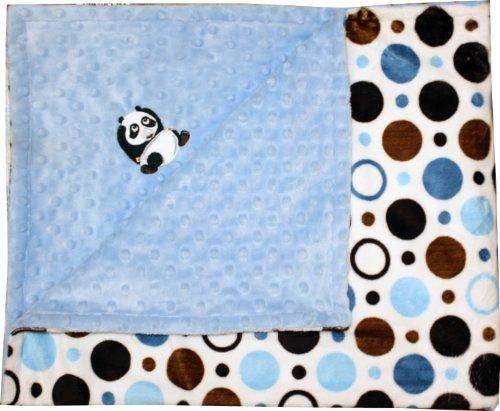 Chenille Polka Dot Blankets (Lil' Cub Hub Minky Blanket with Lil' Cub Characters (Panda Bear, Blue Brown Circles/Blue Dot))