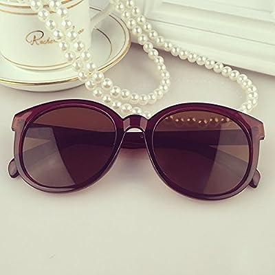 LXKMTYJ Ronde couleur élégant visage rond, lunettes de soleil Lunettes de soleil Lunettes de conduite de la personnalité rétro, plateau transparent