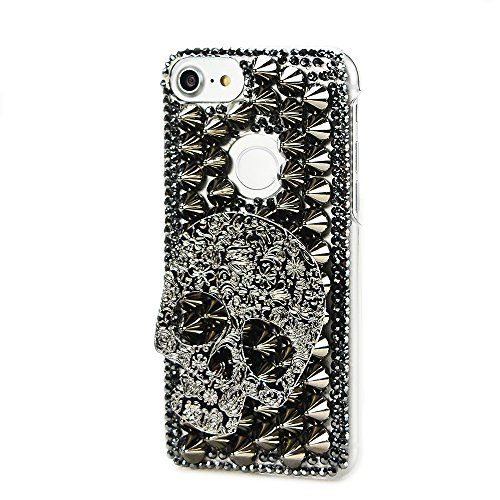 Case Crystal Black Skull (STENES Google Pixel 2 XL Case - Stylish - 100+ Bling Crystal - 3D Handmade Skull Punk Rivet Design Protective Case for Google Pixel 2 XL - Black)