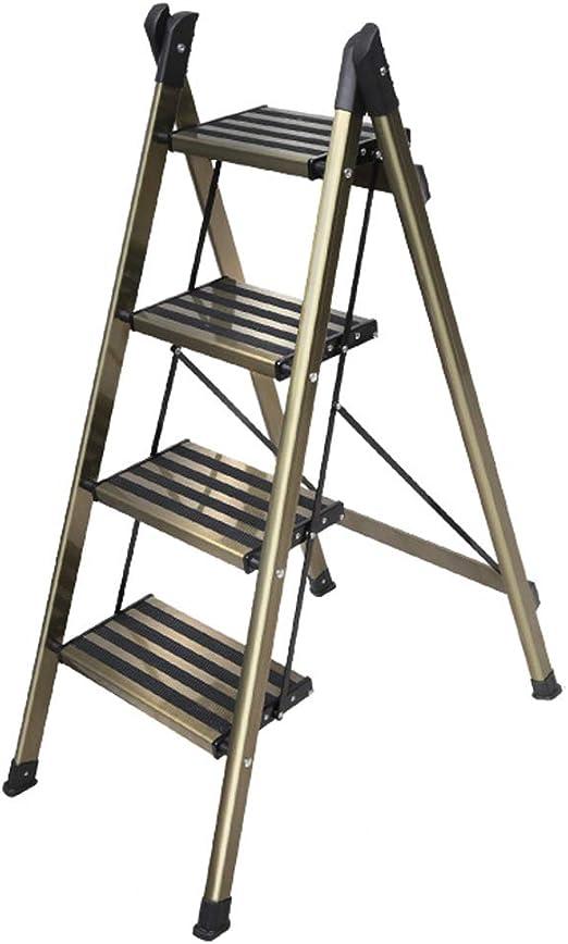 ZLL - Escaleras plegables Taburete Plegable Ligero de 4 peldaños Escalera portátil de Aluminio Multiusos con Antideslizante Escalera Robusta y Ancha para fotografía, hogar y Pintura: Amazon.es: Hogar